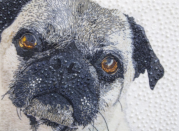 Dog's portrait. Bead and button masterpiece by Sarah Connor