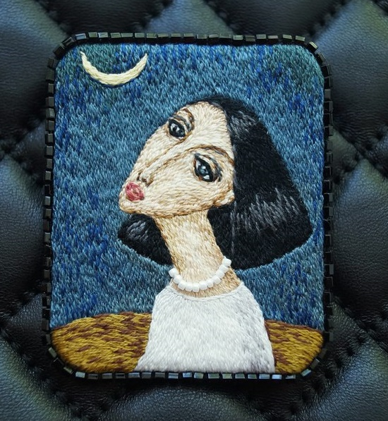 Night inspiration. Brooch embroidered on the motives of the painting by the artist Sergei Smirnov