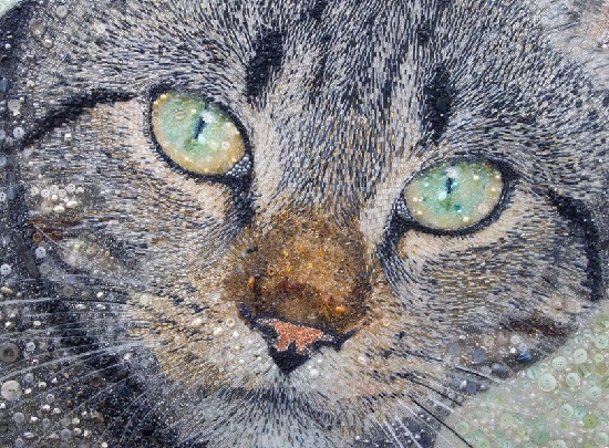 Portrait of a gray cat. Beads, glass beads, buttons, river pearl. Sarah Jane Connors bead painting art