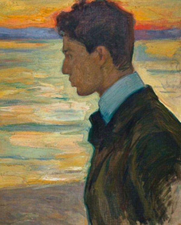 Artist's son Boris Pasternak on the background of the Baltic Sea