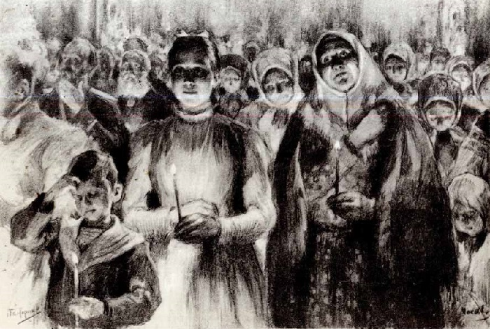 At matins. Illustration for Leo Tolstoy's novel 'Resurrection'. 1898 -1899
