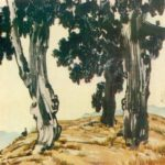 Old cypresses. 1936. Colored ink, mineral paints