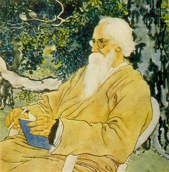 Portrait of Rabindranath Tagore. 1940. Colored ink, mineral paints. Painting by Chinese artist Xu Beihong 1895-1953
