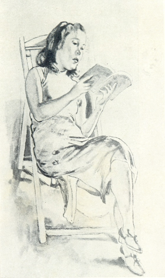 Reading. 1943. Ink