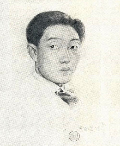 Self-portrait of Xu Beihong, 1925. Sangina