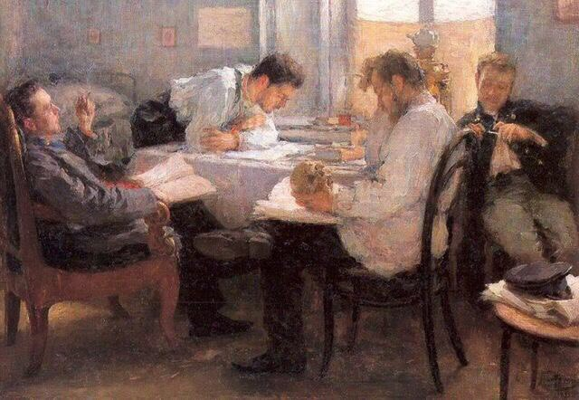 The night before the exam. 1895. Oil on canvas. Musee d'Orsay, Paris