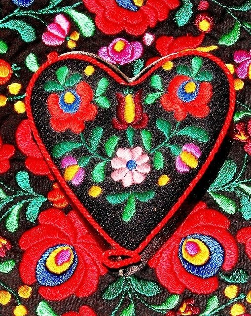 Hungarian Folk Art Embroidery Matyo Roses Art Kaleidoscope