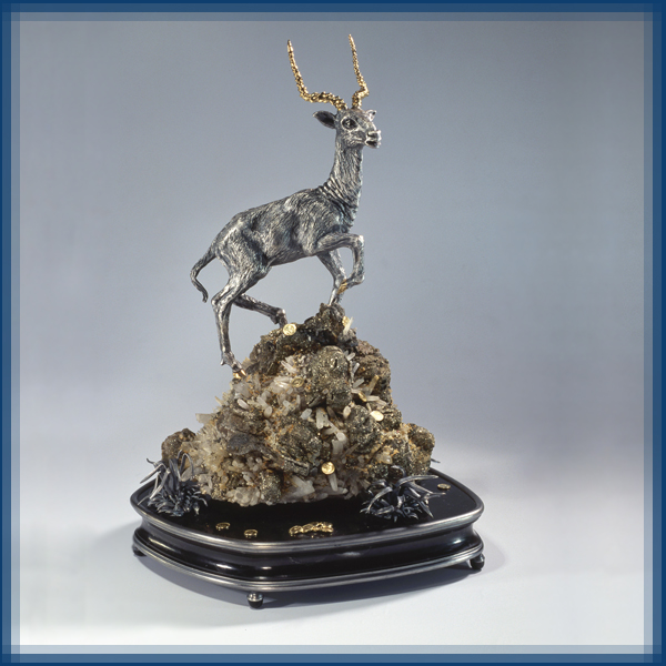 Antilope. Gold, silver, marble