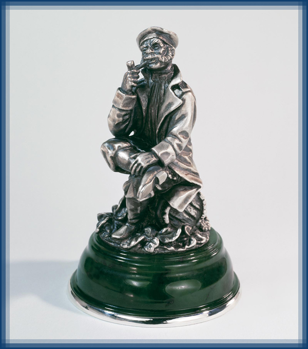 'Experienced'. Silver miniature sculpture from the series 'Russian people'
