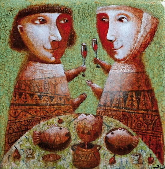 Stunning ceramic tile. Author's work -Celebration. Work by Russian artist Pavel Novikov