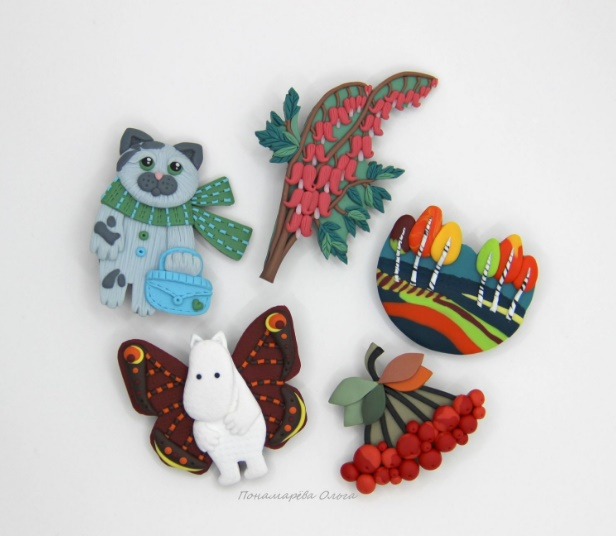 Set of polymer clay brooches. Work by Olga Ponomareva, Chelyabinsk, Russia