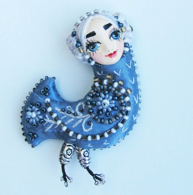 Blue Bird of Happiness. Silk, beads, jovi, sintepon, Japanese beads, Czech beads. Size 8 cm