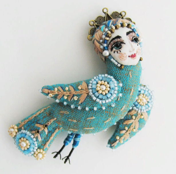 Maiden Bird brooch. Material - linen, silk, embroidery, floss, bronze accessories. Size from crown to tip of tail 10 cm