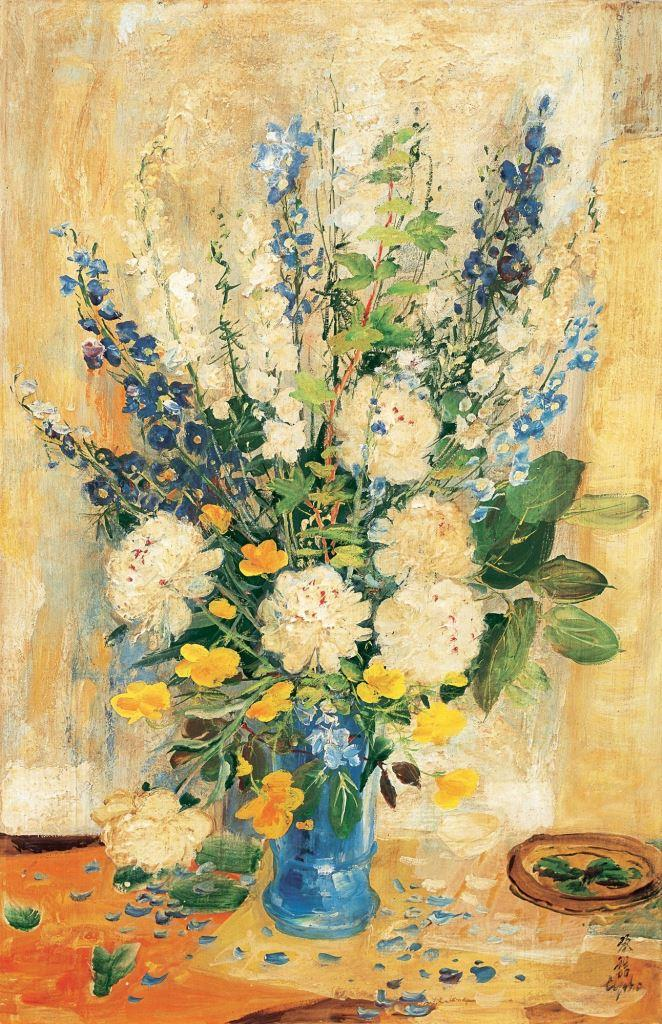 Delphiniums and Peonies. 1960. 100 x 65.5 cm. Oil, silk
