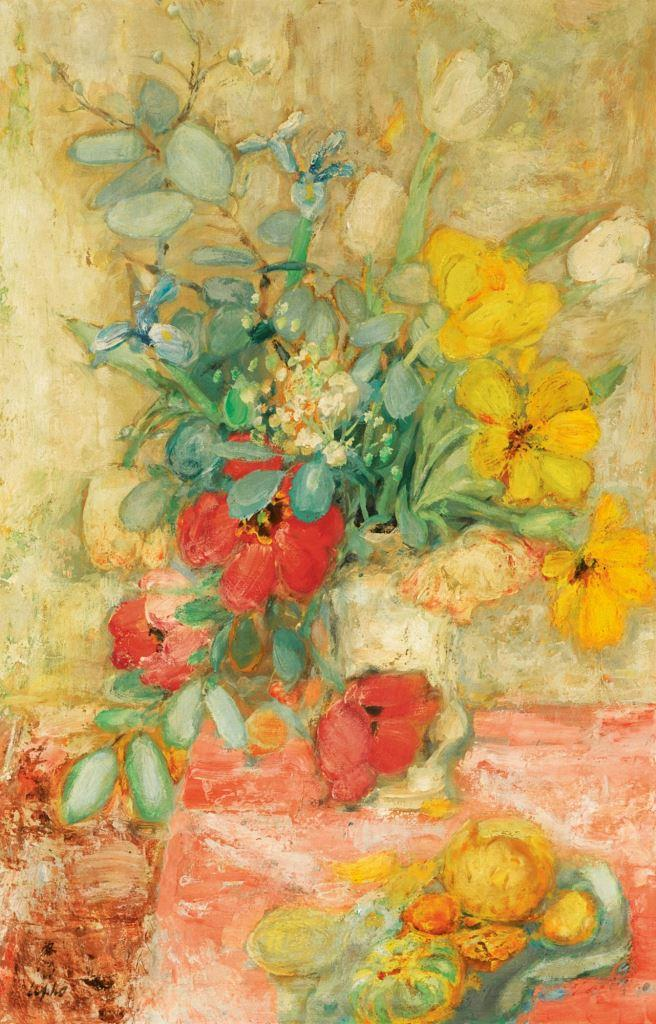 Fruit and flowers. ca. 1950. 92 x 60 cm. Oil, silk