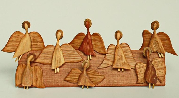 Gallery of wooden angels