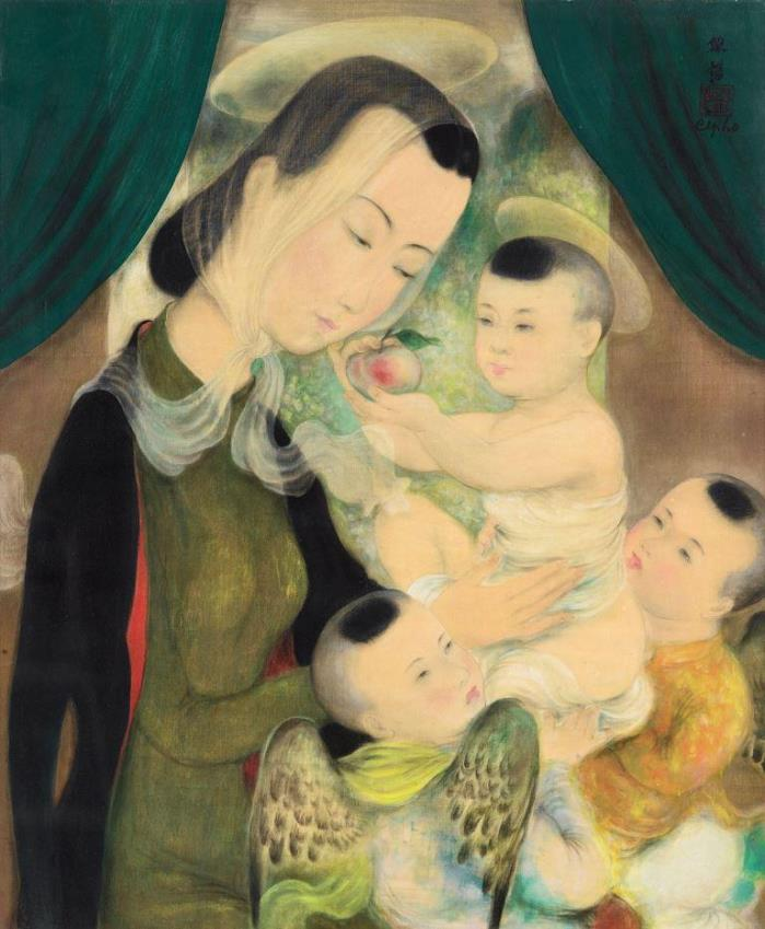 Madonna and Child. ca. 1938. 55 x 46 cm. Ink and gouache on silk