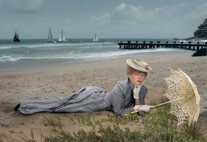 Maria Kozhevnikova in Photo reproduction of the painting by Paul César Elle 'On the beach'. 1902-1904