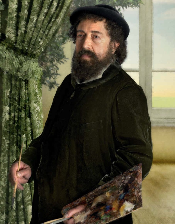 Photo reproduction of the painting by Auguste Renoir 'Portrait of Claude Monet'. 1875. Svyatoslav Belza