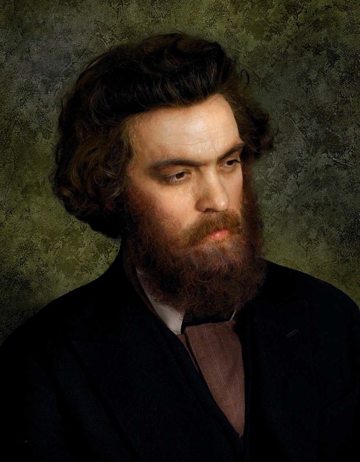 Photo reproduction of the painting by Ivan Kramskoy 'Portrait of A.I. Kuindzhi '. 1872. Singer Metodie Bujor