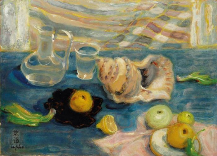 Sea shell, still life. 33 x 46 cm. Oil, silk