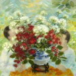 Two children and roses. 73 x 92 cm