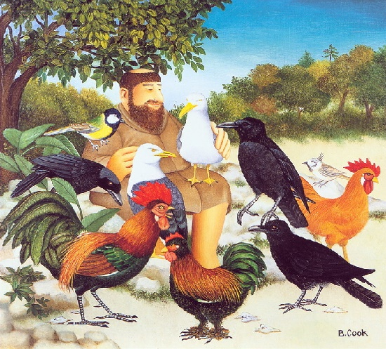 Birds. Naive Painting by English artist Beryl Cook