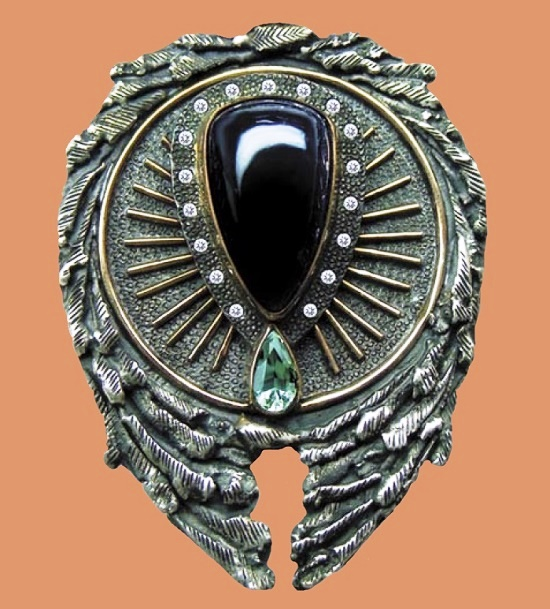 Sad angel Brooch pendant. silver, gold, indigolite, aquamarine, zircons