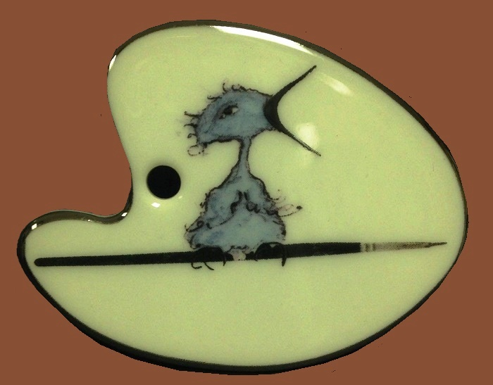 Bird on a Branch Porcelain Brooch