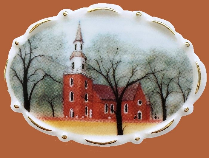 Bruton Parish Church brooch. Jewelry alloy, porcelain, enamels. 5.6 cm