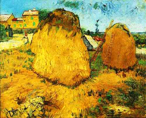 Haystacks in Provence, Arles, June 1888. Yellow color for Vincent Van Gogh