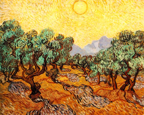 Olive trees with yellow sky and sun. 1989