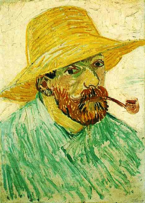 Self-Portrait with Pipe and Straw Hat. Arles, August 1888