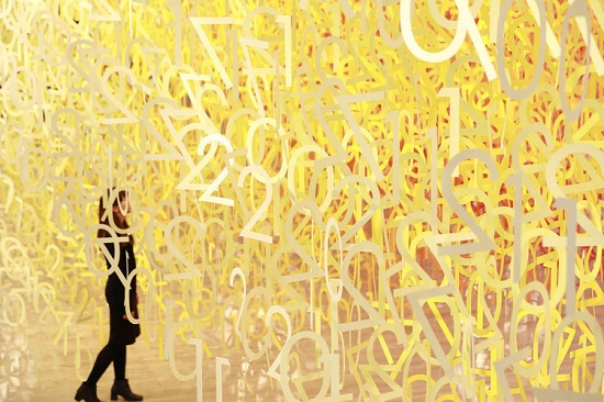 She walks in colors. Forest of numbers. Emmanuelle Moureaux Color Installations