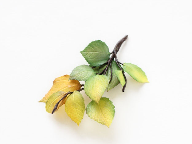 Autumn leaves brooch made of foamiran, suede, paint, wire. 10 cm