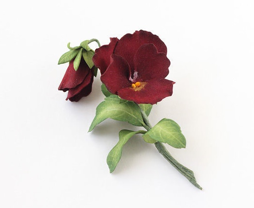 Burgundy flower brooch. foamiran, wire, paint, 11 cm