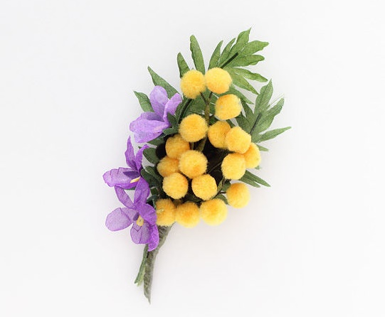 Yellow mimosa and violets, spring flowers. Wire, paint, decorative elements, chiffon, fabric, tape tape. 10 cm