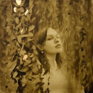 Gold leaf oil painting by American artist Brad Kunkle