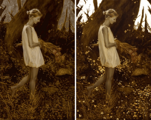 Changing from light to dark, Gold leaf oil painting by American artist Brad Kunkle