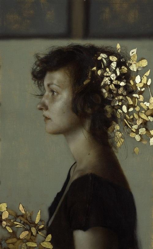 Gold leaf oil painting by American artist Brad Kunkle (5