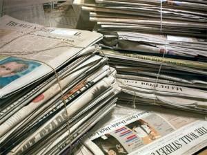 Piles of newspapers. Hyperrealistic Oil Paintings by American artist Steve Mills