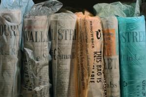 The Wall Street newspapers. Hyperrealistic Oil Paintings by American artist Steve Mills