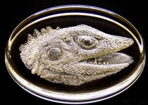 Iguana's head. Engraving on glass by British artist Lesley Pyke