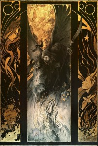 Tryptich. Gold leaf painting by French artist Yoann Lossel