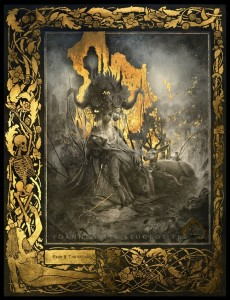 In the woods. Gold leaf painting by French artist Yoann Lossel