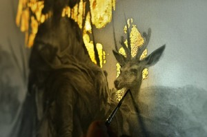 Mysterious Gold leaf paintings by Yoann Lossel