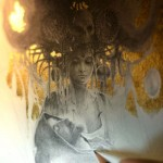 loss. Gold leaf painting by French artist Yoann Lossel