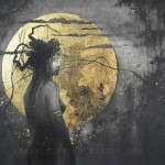 Twilight. Gold leaf painting by French artist Yoann Lossel