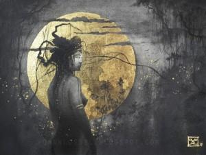 Twilight. Gold leaf painting by French artist Yoann Lossel