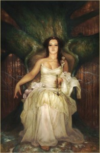 Lady in white. Gold leaf painting by French artist Yoann Lossel